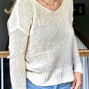 Urban Outfitters cream slouchy open back sweater